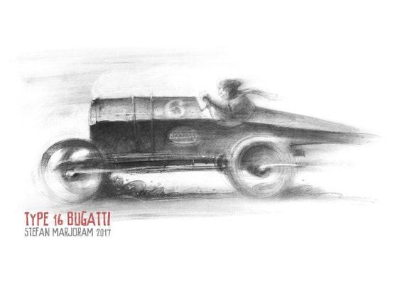 Type 16 Bugatti - Original A2 Charcoal Sketch