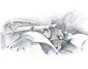 Mercedes 500K - Goodwood Festival of Speed Print