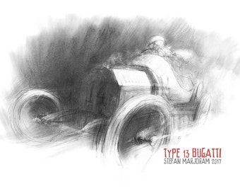 Type 13 Bugatti - Original A2 Charcoal Sketch