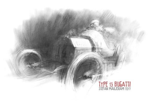 Type 13 Bugatti - Original A2 Charcoal Sketch