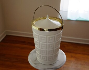Groovy Ice Bucket by LustroWare -- White Bucket with Molded Plastic Sides &   -- Nifty Mid Century Design