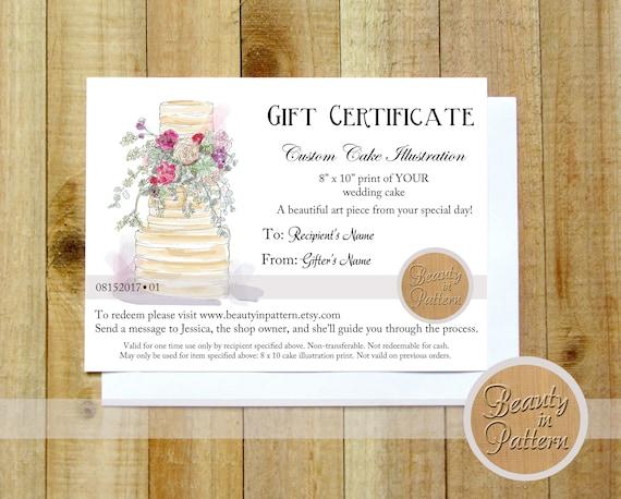custom cake illustration gift certificate cake drawing etsy