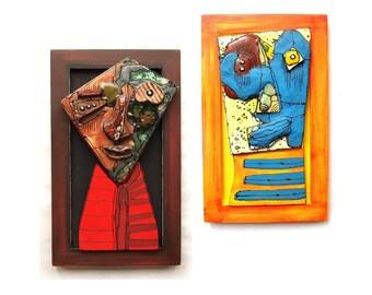 Pair wall sculptures, Abstract wall sculptures, Colorful wall sculptures, Pair modern sculptures, Mixed media wall art, Crazy art, 99heads