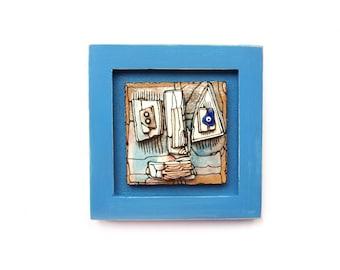 Cubist mini art Mini ceramic art Mini art sculptures Trio small sculptures Abstract ceramics Set of 3 sculptures Desk sculptures