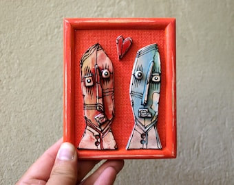 Crazy couple, Gift for anniversary, Abstract Figures, Wall Art Ceramics, Crazy Art,  Ceramic art sculpture, Art gift for couple