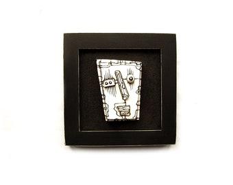 Ceramic sculpture, Modern ceramic art, Ceramic face, Black and white art, Black sculpture, Weird face, Wall sculpture, 3D wall art, 99heads