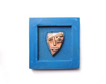 Abstract ceramics, Geometrical face, Wall sculpture, 3D sculpture, Modern ceramics, Crazy art, Alien sculpture, Unique art face, Blue art