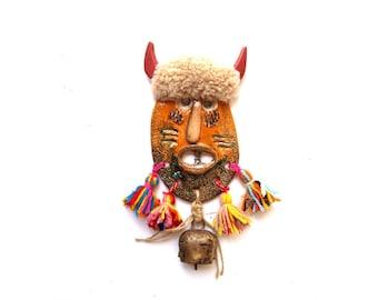 Ceramic wall mask, Original ceramic mask, Small ceramic mask, Folk art mask, Mask sculpture, Mixed media mask