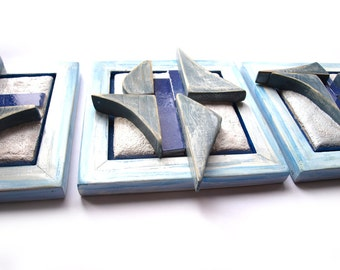 Abstract wall art, Set of 3 sculptures, Mixed media wall art, Abstract 3d sculpture, Blue sculpture, Beach house decoration, Nautical decor