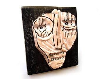 Black and white sculpture, Creepy face, Scary face, Ceramic mask, Wall sculpture, Weird face, Modern ceramics, Black and white art, 99heads