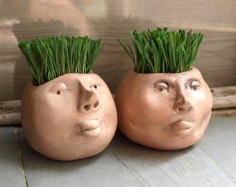 Small face planters, Planters Set, Head planter, Cute face planter, Plant Gift Set, Indoor Garden Gift, Cute Ceramic Gift, Indoor Planter