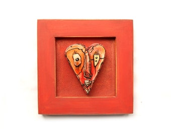 Wall Ceramic Heart, Valentine's day gift, Ceramic heart mask, Red Heart Mask, Abstract Love Face, Heart Sculpture, Gift for him