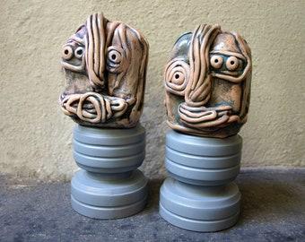 Alien couple, Pair sculptures, Art desk sculptures, Alien sculpture, Ceramic head sculpture, Crazy couple gift, Beast sculpture, by 99heads