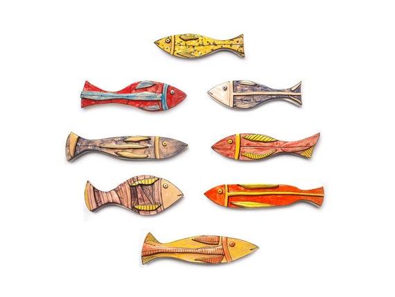 Colorful Ceramic Fish Set of 8 Pottery Fish Wall art fish | Etsy