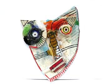 Wall Mask, Abstract ceramic (Wall Art),  3D wall art, Ceramic mask, Handmade sculpture of head,  Ceramic home decor