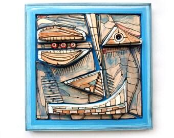 Modern blue ceramics, 3D wall sculpture, Ceramic wall mask, Weird sculpture, Abstract face, Blue face, Crazy art, Ceramic wall art, 99heads