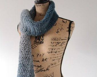 Crocheted Cream and Teal Scarf