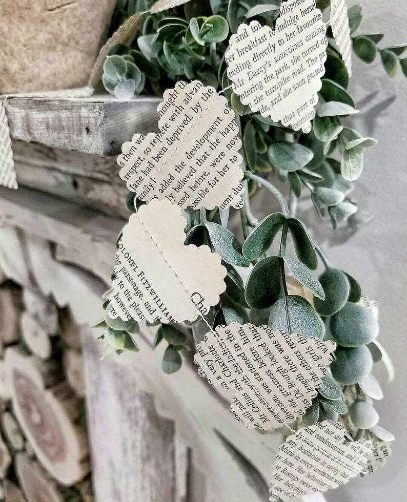 9fc5c85f8767 Vintage Book Paper Heart Garland Modern Farmhouse Party