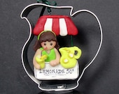 Lemonade Stand Christmas Ornament Pitcher Canopy Lemon Cookie Cutter Girl Handcrafted Polymer Clay Milestone Cake Topper Glass Straw Drinks