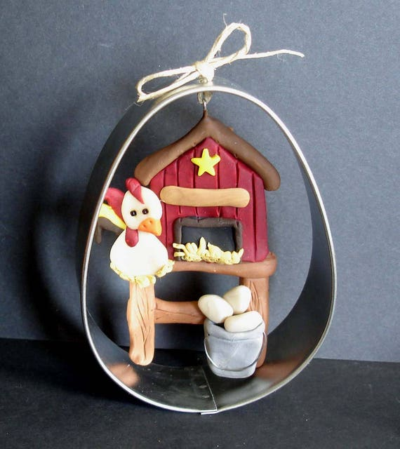 Chicken Eggs Christmas Ornament Farmer Brown Spotted Hen Nest Handcrafted Polymer Clay Milestone Personalized Cake Topper Egg Bucket Basket