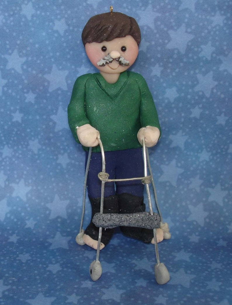 Physical Therapist Christmas Ornament Walker Injury Walking Boot Broken  Bone Surgery Polymer Clay Milestone PT Orthopedist Foot Cast 1st
