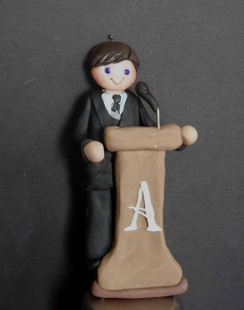 Podium Speaker Christmas Ornament Microphone Lecturer Speech Presenter Sermon Handcrafted Polymer Clay Milestone Cake Topper Boss Minister