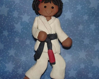 Karate Martial Arts Cake Topper Gi Black Yellow Belt Polymer Clay Milestone Handcrafted DoJo Tae Kwon Do Instructor Self Defense Advancement