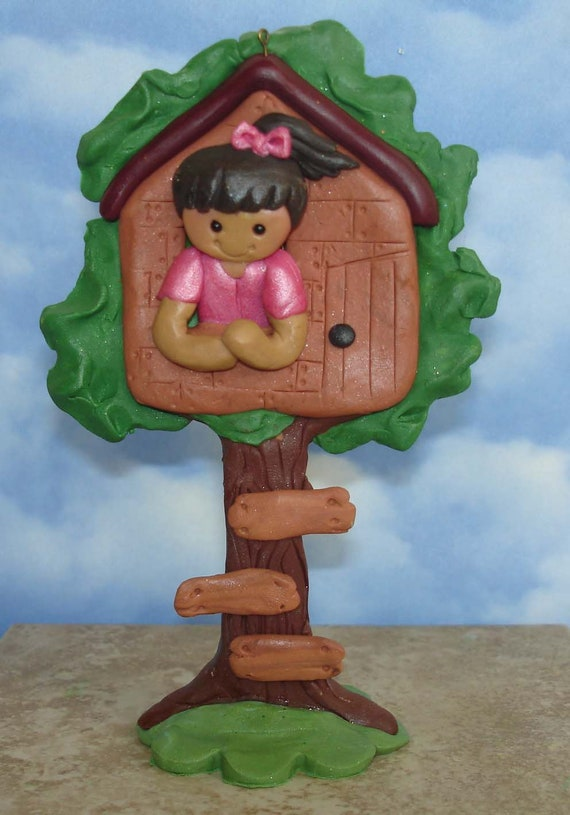 Treehouse Christmas Ornament Club House Tree Climber Handcrafted Polymer Clay Milestone Cake Topper Tree House Hide Out Friends Birthday