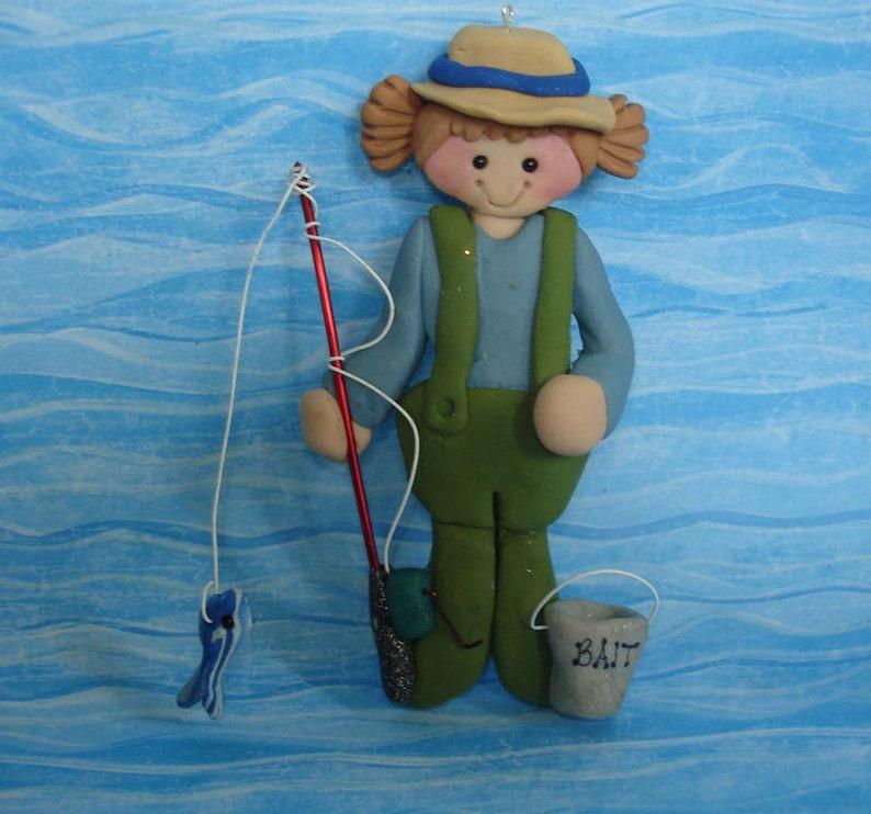 3b097ab8c4796 Fisherman Rod Christmas Ornament Bait Bucket Pole Reel Fish
