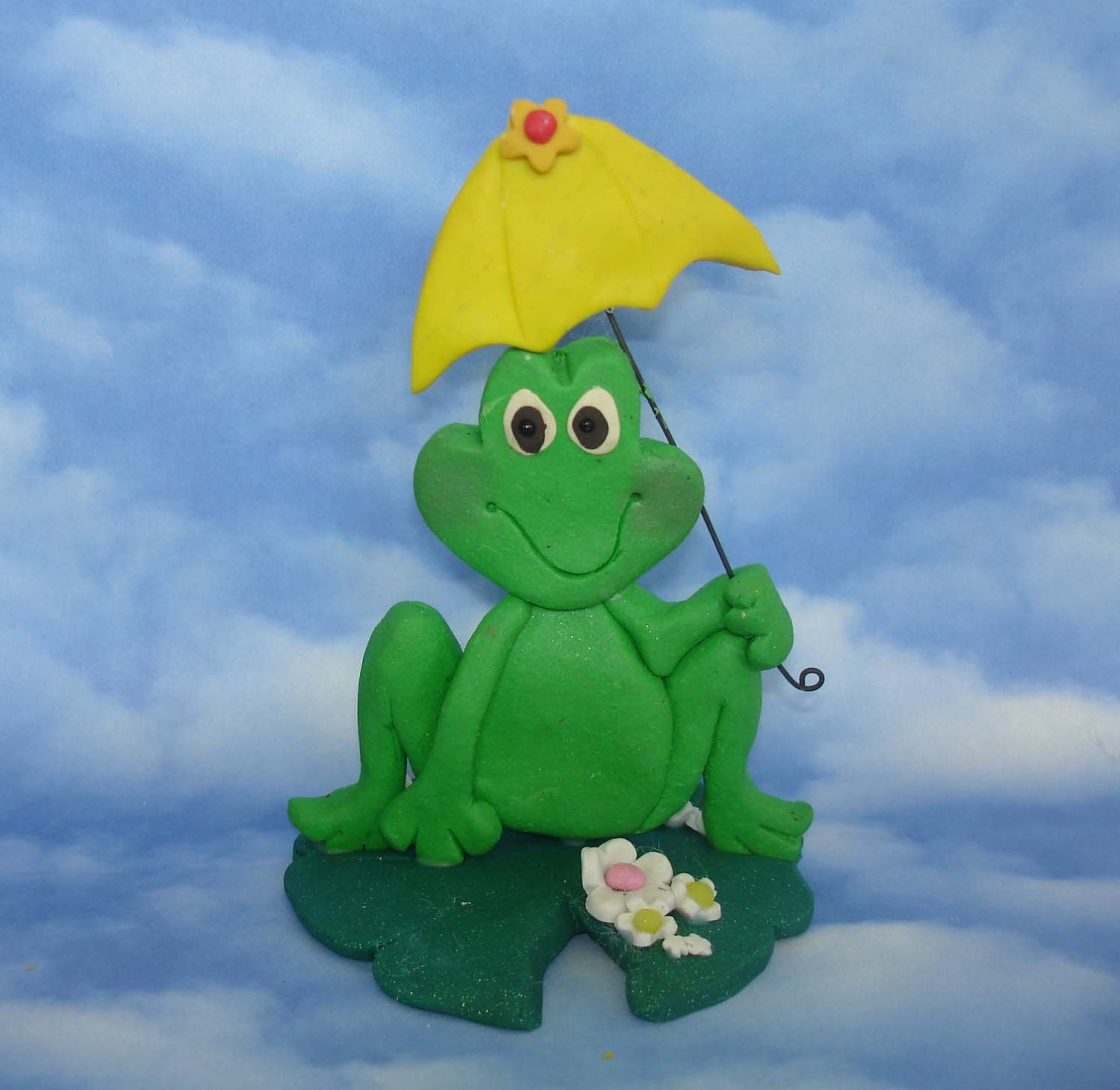 Frog Umbrella Cake Topper Handcrafted Polymer Clay Lily Pad Pond ...