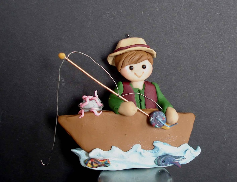 19492af315741 Fisherman Boat Christmas Ornament Fishing Bait Can