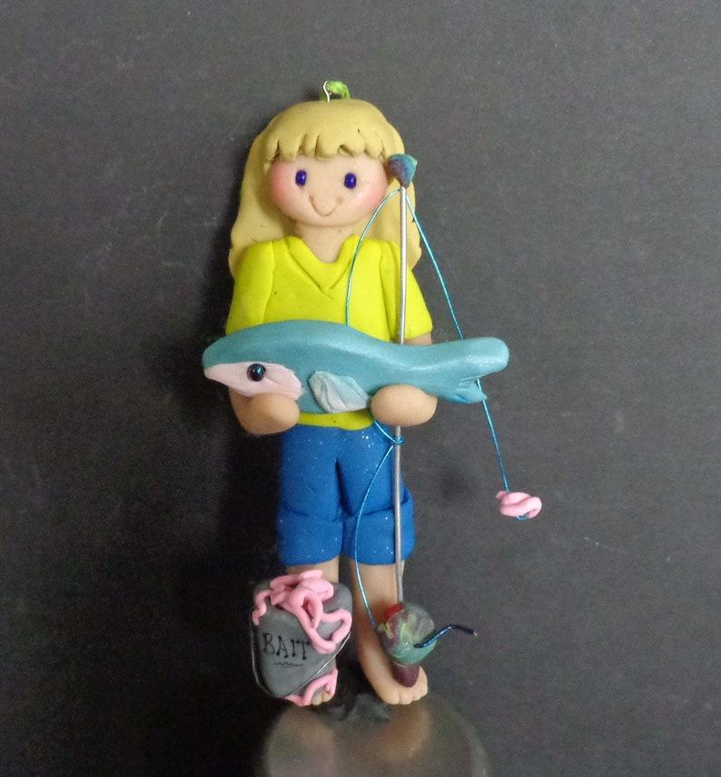 d3c2ebde86108 Girl Fishing Christmas Ornament Fish Rod Reel Cake Topper