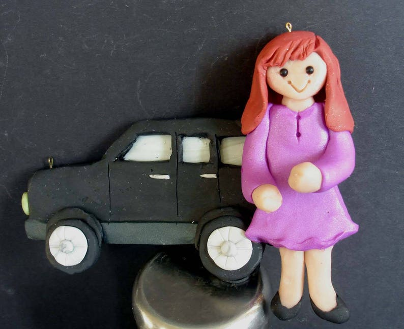 SUV Vehicle Christmas Ornament New Drivers License Car Keys Handcrafted Polymer Clay Personalized Milestone Cake Topper First Wagon Jeep DL