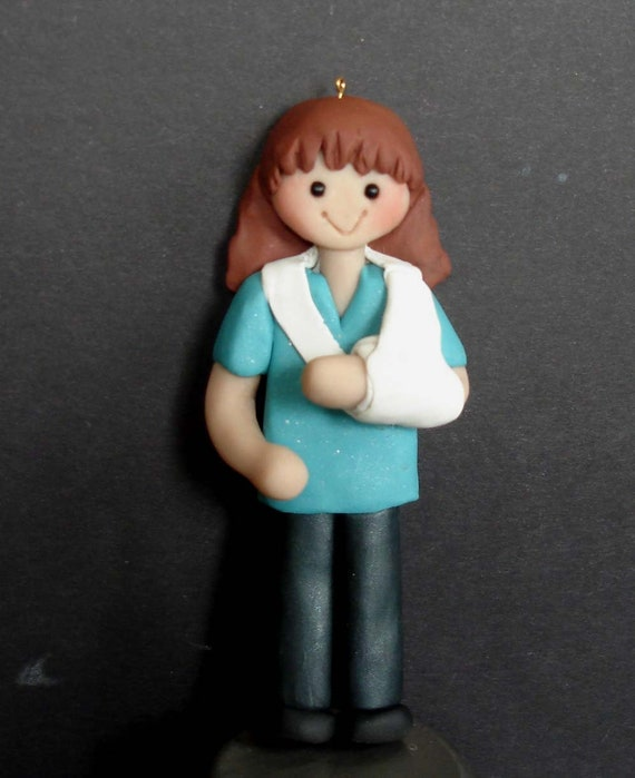 Physical Therapist Christmas Ornament Broken Arm Bone Injury Cast Sling  Polymer Clay Milestone Cake Topper Girl Orthopedist Accident PT 1st - Physical Therapist Christmas Ornament Broken Arm Bone Injury Etsy
