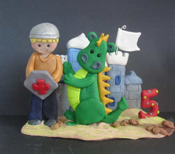Prince Dragon Cake Topper Knight Castle Polymer Clay Milestone Winged Guard Helmet Shield Armor Crusader Medieval Birthday Grooms Cake