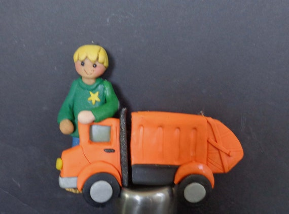 Garbage Truck Christmas Ornament Worker Trash Collector Can Dumpster Polymer Clay Milestone Waste Collection Birthday Grooms Cake Topper