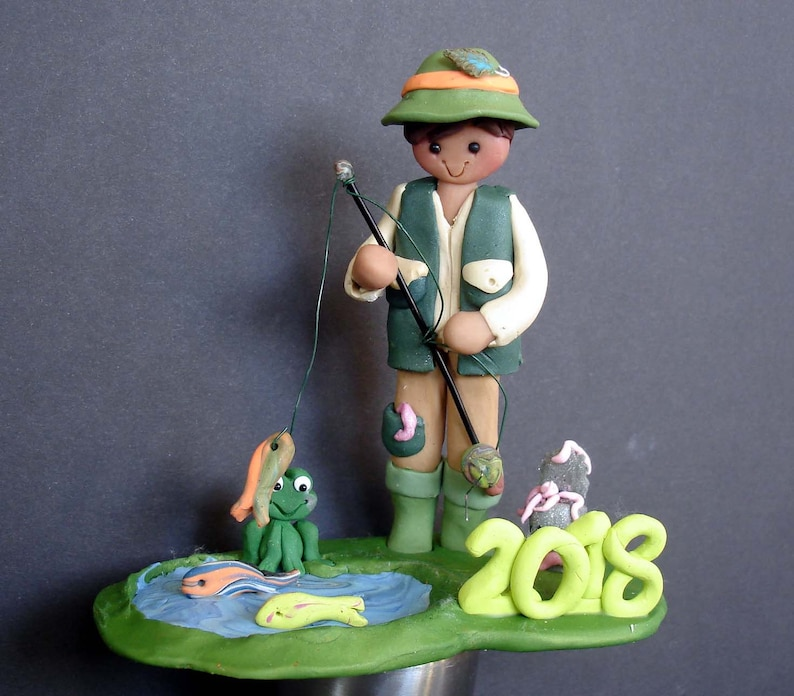 ebd7d7ed0b4c6 Fisherman Rod Reel Cake Topper Handcrafted Polymer Clay