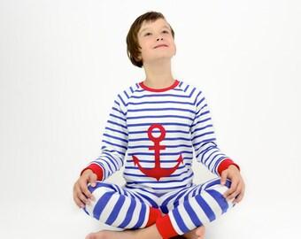 girls pajama, toddler pajama set, organic kids pajama, organic cotton 2pc pajama set,girls pjs,striped anchor pajama,girls organic sleepwear
