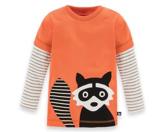 8ff713e7ac Long sleeve shirt for boys with raccoon application made from 100% organic  cotton