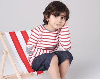Erdmännchen Shirt für Kinder, Langarmshirt mit Erdmännchen, Jungen-Shirt petrol, Ringelshirt grau-weiß, 100% Bio-Baumwolle