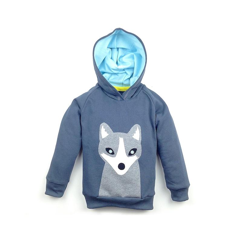 Kids Hoodie Boy Organic Cotton Hoodie Polar Fox Grey 100% image 0