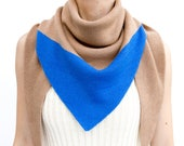 triangle scarf, beige, blue, camel, color block, knit scarf, knit triangle scarf, scarf, shawl, color block scarf, knitwear, THE KNIT KID