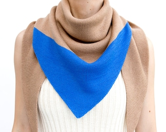 triangle scarf, beige, blue, camel, color block, knit scarf, knit triangle scarf, scarf, shawl, color block scarf, knitwear, THE KNIT KID