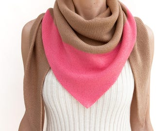 triangle scarf, beige, pink, camel, color block, knit scarf, knit triangle scarf, scarf, shawl, color block scarf, knitwear, THE KNIT KID