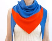 triangle scarf, blue, red orange, color block, knit scarf, knit triangle scarf, scarf, shawl, color block scarf, knitwear, THE KNIT KID