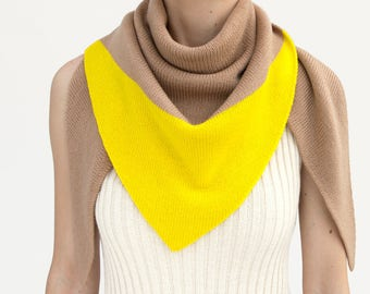 triangle scarf, beige, yellow, camel, color block, knit scarf, knit triangle scarf, scarf, shawl, color block scarf, knitwear, THE KNIT KID