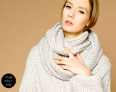 merino infinity scarf sand white mottled circle loop snood cowl circle scarf theknitkid the knit kid