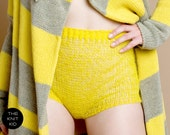knitted shorts panties transparent bulky mohair wool yellow theknitkid