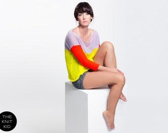 Strickpullover neonrot gelb flieder Pullover Mohair transparent oder Merino extrafein theknitkid THE KNIT KID Qualität Design Mode Berlin