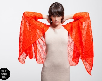Cape neon red orange mohair THE KNIT KID theknitkid orange red knitted coat cardigan